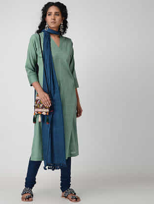 Green Cotton Slub Kurta with Pockets