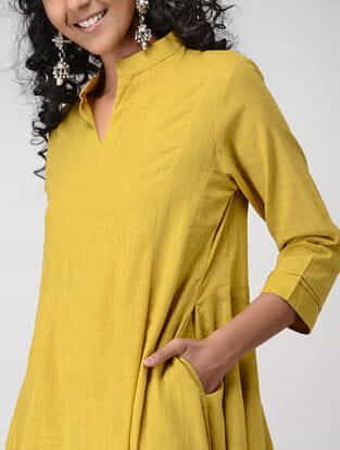 Yellow Cotton Slub Kalidar Kurta