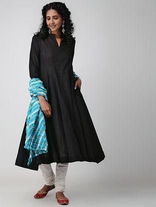 Black Cotton Slub Kalidar Kurta