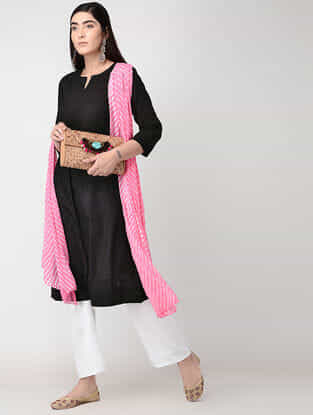 Black Cotton Slub Kurta with Pleats