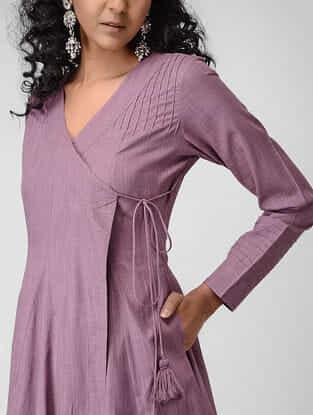 Purple Cotton Slub Angrakha with Pintucks