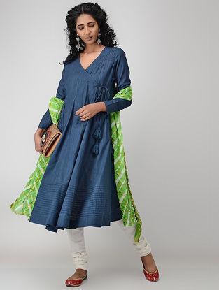 Blue Cotton Slub Angrakha with Pintucks