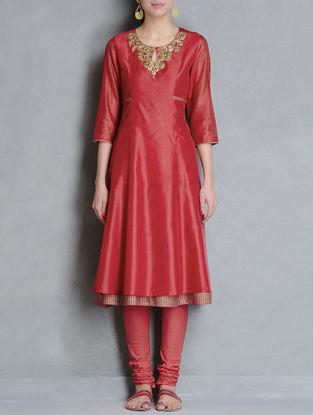 Red-Fuschia Gota-Patti Embellished Khari Block Printed Panelled Chanderi Layered Kurta