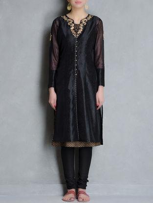 Black-Golden Gota-Patti Embellished Button Down Chanderi Kurta & Khari Block Printed Lining Set of 2