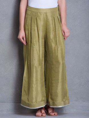 Olive-Silver Gota Patti & Zari Detailed Box Pleated Tie-Up Detailed Silk Palazzos