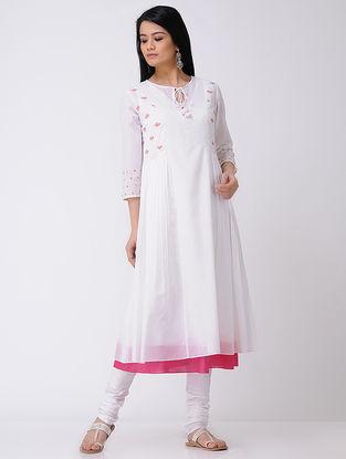 Ivory-Pink Hand-embroidered Cotton Kurta (Set Of 2)