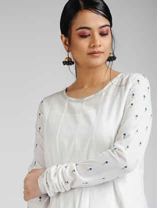 Ivory-Blue Hand-embroidered Cambric Kurta with Slip (Set of 2)