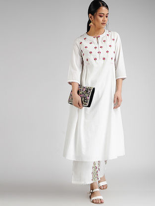 Ivory-Pink Hand-embroidered Cambric Kurta with Slip (Set of 2)