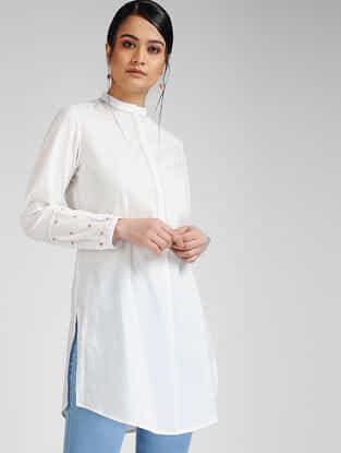 Ivory-Pink Hand-embroidered Cambric Tunic