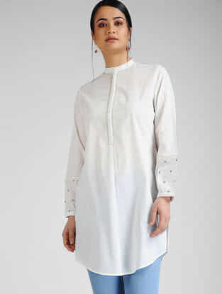 Ivory-Blue Hand-embroidered Cambric Tunic
