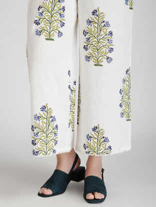 Ivory-Blue Block-printed Elasticated Waist Cotton Pants