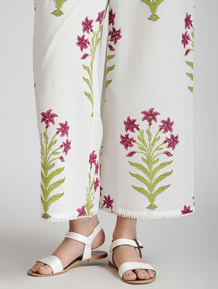 Ivory-Pink Block-printed Elasticated Waist Cotton Pants