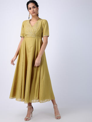 Olive Zari-embroidered Cotton Silk Dress with Side Gathers