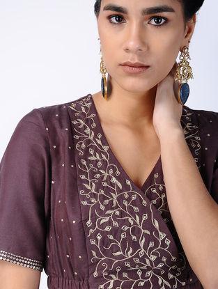 Purple Zari-embroidered Cotton Silk Dress with Side Gathers