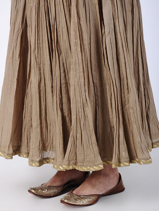 Brown Elasticated Waist Crinkled Cotton Voile Skirt