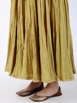 Olive Elasticated Waist Crinkled Cotton Voile Skirt