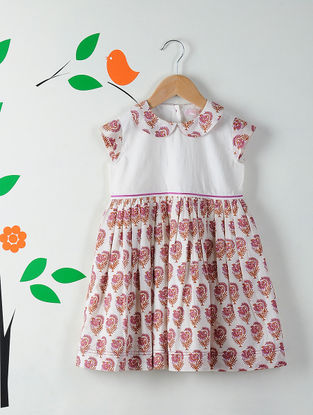 White-Pink Peter Pan Collar Block Printed Cotton Dress