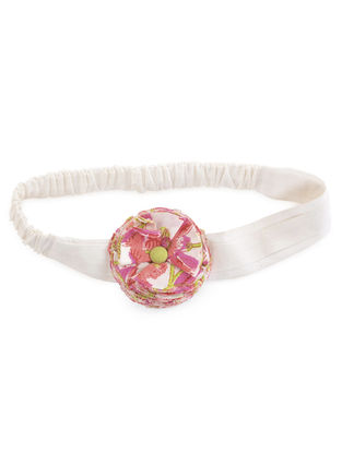 White-Pink Elasticated Cotton Ballerina Hair Band 18.5in x 2.5in