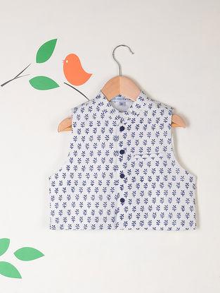 White-Blue Block Printed Katan Silk Nehru Jacket