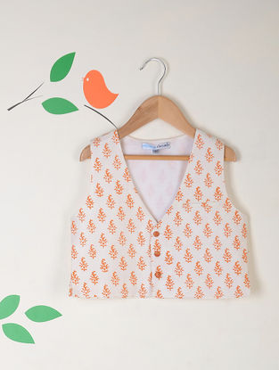 White-Orange Block Printed Katan Silk Waist Coat