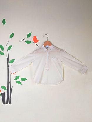 White Roll Up Sleeves Kantha Stitch Cotton Short Kurta