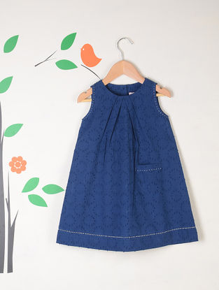 Indigo Lattice Kantha Stitch Jacquard Cotton Dress with Pocket