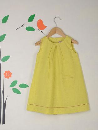 Lime Green Lattice Kantha Stitch Jacquard Cotton Dress with Pocket
