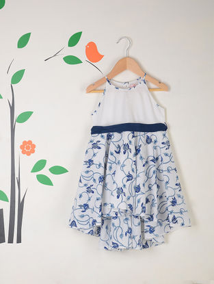 White-Blue Block Printed Asymmetrical Cotton Dress