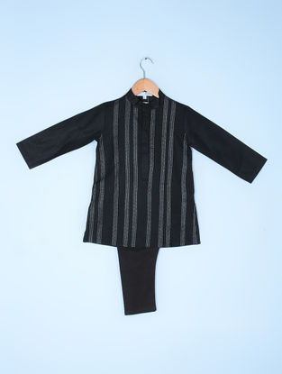 Black Pintuck Linen Kurta with Cotton Cambric Aligarh Pyjama (Set of 2)