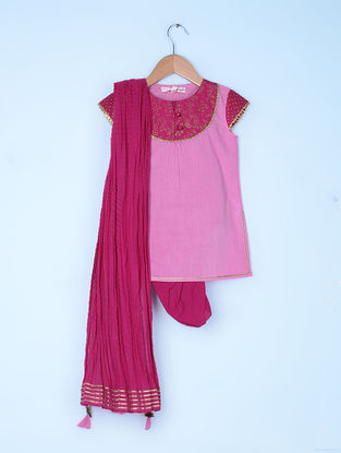 Pink Cotton Cambric Kurta and Dhoti Salwar with Cotton Voile Crinkled Dupatta (Set of 3)