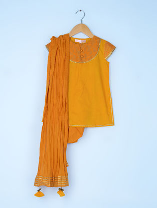 Orange Cotton Cambric Kurta and Dhoti Salwar with Cotton Voile Crinkled Dupatta (Set of 3)