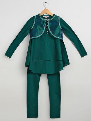 Blue Embellished Cotton Cambric Kurta-Churidar with Organza Silk Jacket (Set of 3)