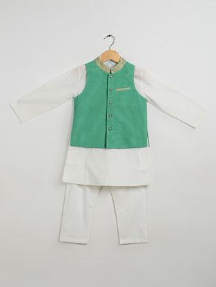 Green-Off White Cotton Kurta-Pyjama with Nehru Jacket for Boys (Set of 3)