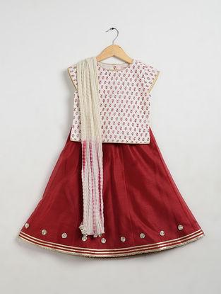 Red Printed Cotton and Chanderi Lehenga-Choli with Mul Mul Dupatta (Set of 3)