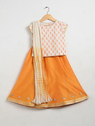 Orange Printed Cotton and Chanderi Lehenga-Choli with Mul Mul Dupatta (Set of 3)