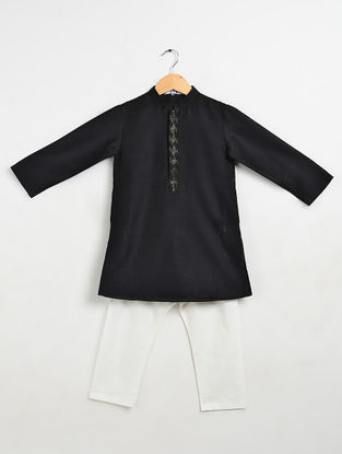 Black Cotton Kurta-Pyjama (Set of 2)