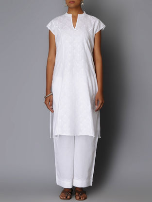 White Chikankari Embroidered Princess line Kurta
