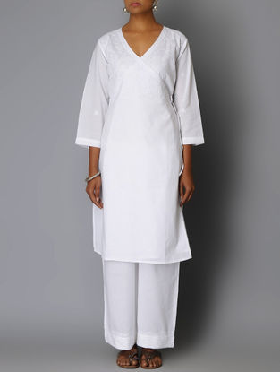 White Chikankari Embroidered Angrakha Cotton Kurta