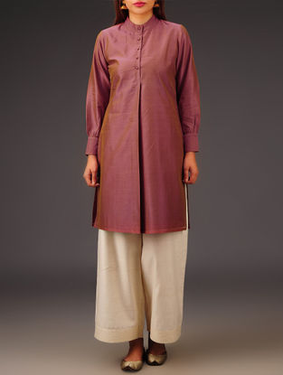 Rust Chanderi Collar Neck Kurta