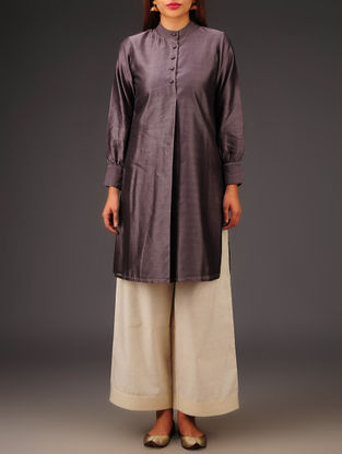 Purple Chanderi Collar Neck Kurta