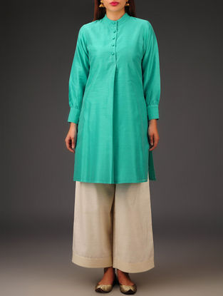 Green Chanderi Collar Neck Kurta