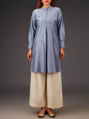 Grey Chanderi Collar Neck Kurta