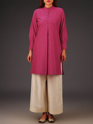 Fuschia Chanderi Collar Neck Kurta