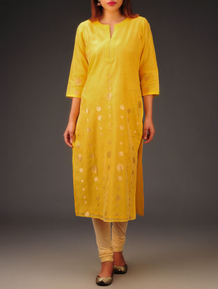 Yellow-Golden Chanderi Zari Embroidered Kurta