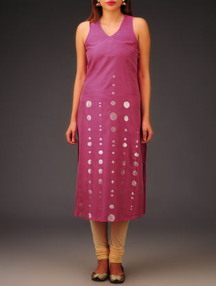 Fuschia-Silver Chanderi Zari Embroidered Angrakha Kurta