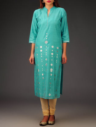 Cyan-Golden Chanderi Zari Embroidered Kurta