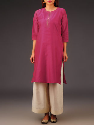 Fuschia Chanderi Zari Stitch Detailed Kurta