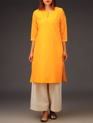 Yellow Chanderi Zari Stitch Detailed Kurta