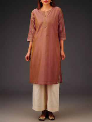 Rust Chanderi Zari Stitch Detailed Kurta