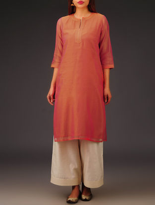 Orange Chanderi Zari Stitch Detailed Kurta